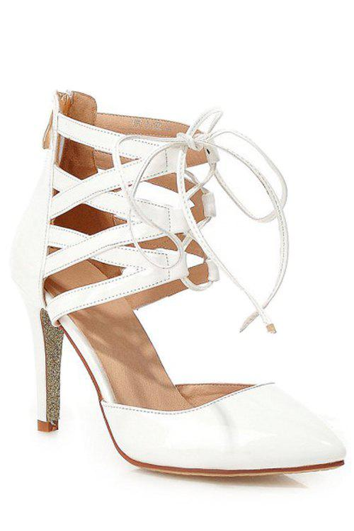 Trendy Lace-Up and Solid Color Design Pumps For WomenShoes<br><br><br>Size: 38<br>Color: WHITE