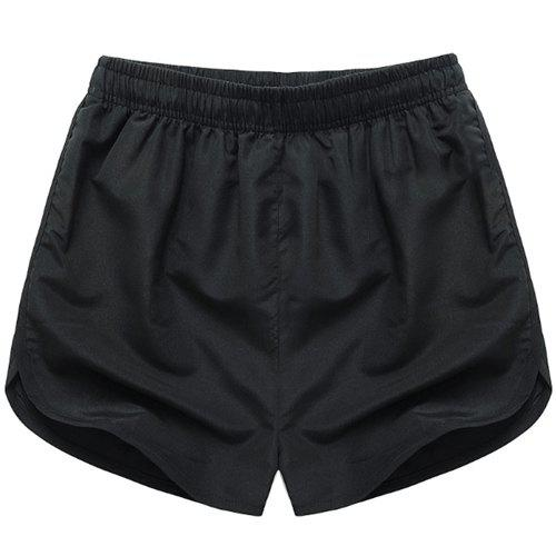Simple Solid Color Elastic Waist Men's Shorts - BLACK M