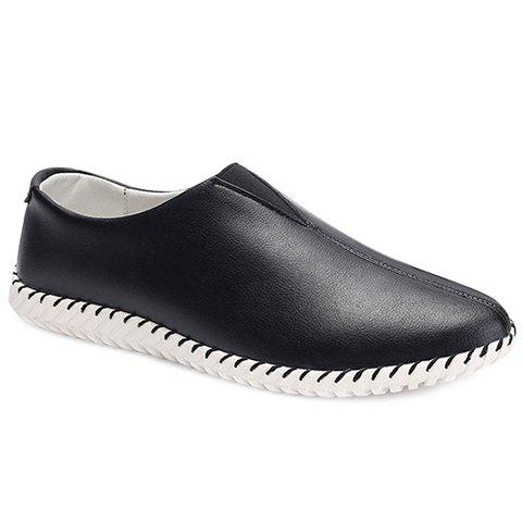 Faux Leather Slip On Sneakers - BLACK 44