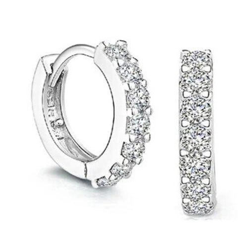 Pair of Rhinestoned Zircon Hoop Earrings - SILVER