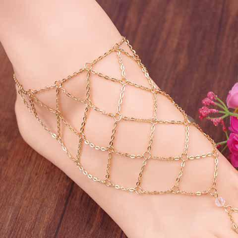 1 Piece Openwork Fishing Net Pattern Fancy Anklets - GOLDEN
