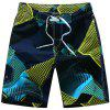 Straight Leg Geometric Print Flap Patch Pokect Drawstring Men's Board Shorts - YELLOW L