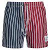 Straight Leg Drawstring Vertical Stripes Print Color Block Splicing Men's Board Shorts - COLORMIX XL