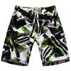 Straight Leg Hit Color Geometric Print Drawstring Men's Board Shorts - WHITE/BLACK M