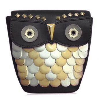Cute Owl Pattern and Rivets Design Women's Crossbody Bag