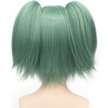 Sweet Kayano Kaede Short With Bunches Full Bang Fluffy Straight Synthetic Green Cosplay Wig - GREEN