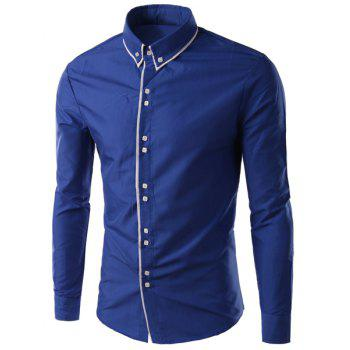 Multi-Button Top Fly Solid Color Slimming Shirt Collar Long Sleeves Men's Button-Down Shirt