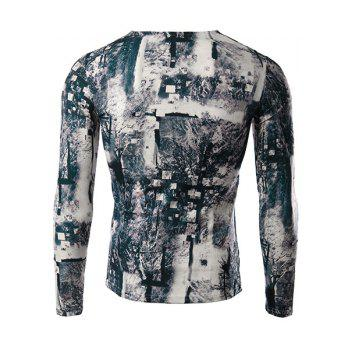 Modish V-Neck 3D Mysterious Forest Print Long Sleeves Men's Slimming T-Shirt - COLORMIX L