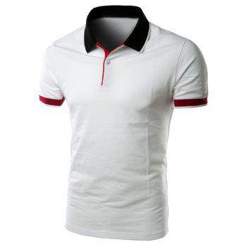 Buy Simple Turn-down Collar Color Block Slimming Men's Short Sleeves Polo T-Shirt WHITE