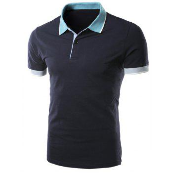 Simple Turn-down Collar Color Block Slimming Men's Short Sleeves Polo T-Shirt