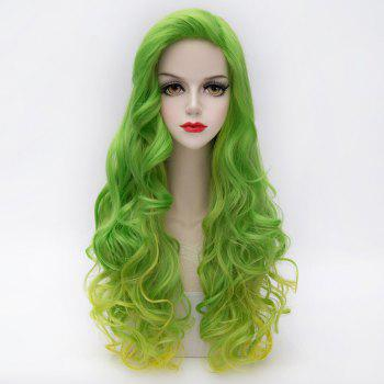 Fluffy Wavy Synthetic Attractive Long Green Golden Gradient Party Wig For Women - COLORMIX