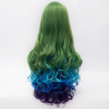 Lolita Long Synthetic Fashion Multicolor Gradient Fluffy Wavy Centre Part Women's Party Wig - COLORMIX
