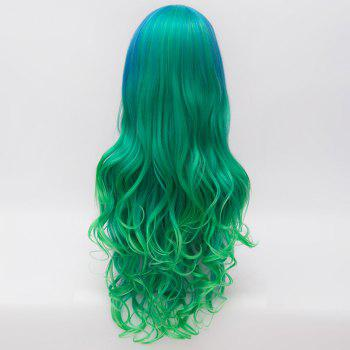 Fluffy Wavy Blue Green Gradient Gorgeous Long Side Bang Synthetic Party Wig For Women - BLUE/GREEN