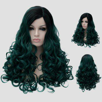 Fluffy Curly Black Ombre Blackish Green Synthetic Gorgeous Long Party Wig For Women