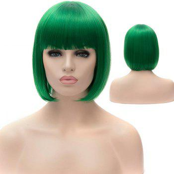 Stylish Straight Full Bang Green Synthetic Short Bob Style Women's Party Wig