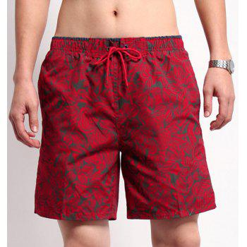 Straight Leg Drawstring Floral Print Men's Board Shorts - M M