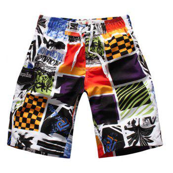 Straight Leg Color Block Splicing Letters Print Elastic Waist Men's Board Shorts