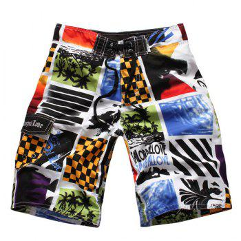 Straight Leg Color Block Splicing Letters Print Drawstring Men's Board Shorts - COLORMIX M