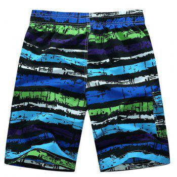 Straight Leg Mix Color Print Patch Pocket Drawstring Men's Board Shorts - PURPLE PURPLE