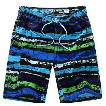 Straight Leg Mix Color Print Patch Pocket Drawstring Men's Board Shorts