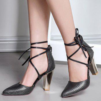 Elegant Tie Up and PU Leather Design Pumps For Women - 37 37