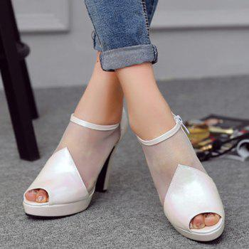 Trendy Zip and PU Leather Design Peep Toe Shoes For Women - WHITE 36