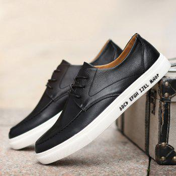 Trendy PU Leather and Lace-Up Design Formal Shoes For Men - BLACK 44