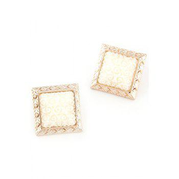 Pair of Carving Faux Gemstone Square Earrings