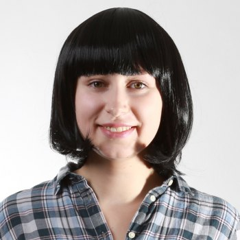 Bob Style Vogue Heat Resistant Synthetic Black Short Neat Bang Capless Straight Women's Wig