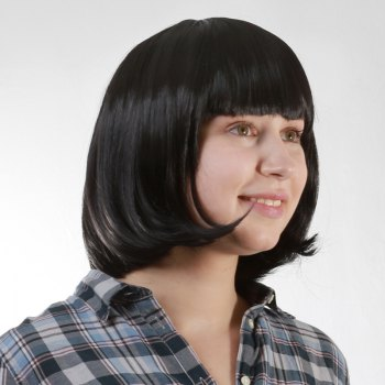 Bob Style Vogue Heat Resistant Synthetic Black Short Neat Bang Capless Straight Women's Wig -  BLACK