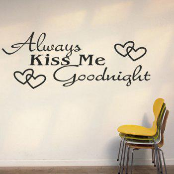 High Quality Black Letter Heart Pattern Removeable Wall Stickers - BLACK