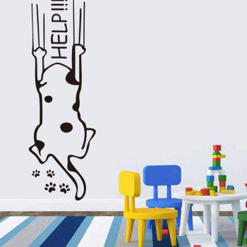 High Quality Black Puppy Pattern Removeable Wall Stickers - BLACK