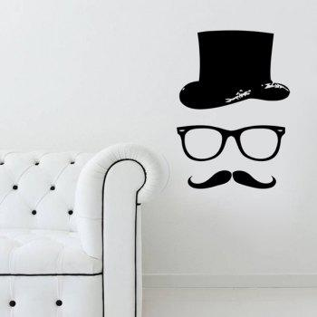 High Quality Black Gentleman Pattern Removeable Wall Stickers - BLACK