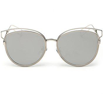 Chic Cat Eye Shape Silver Frame and Hollow Out Design Women's Sunglasses - WHITE