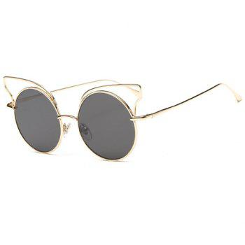 Chic Round Gold Frame and Hollow Cat Ear Shape Design Women's Sunglasses