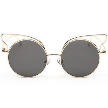 Chic Round Gold Frame and Hollow Cat Ear Shape Design Women's Sunglasses - DEEP GRAY