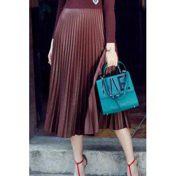 Fashion High Waisted PU Leather Pleated Skirt For Women