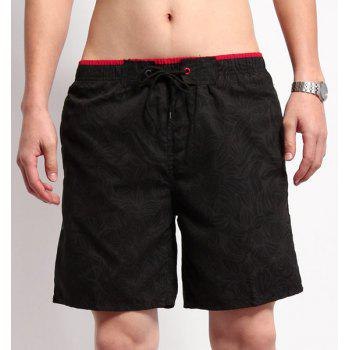 Straight Leg Drawstring Floral Print Men's Board Shorts - BLACK BLACK