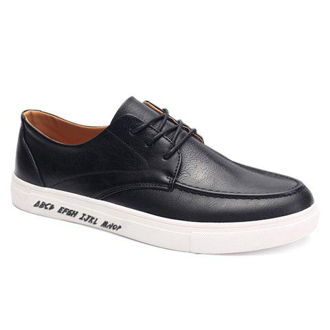 Trendy PU Leather and Lace-Up Design Formal Shoes For Men