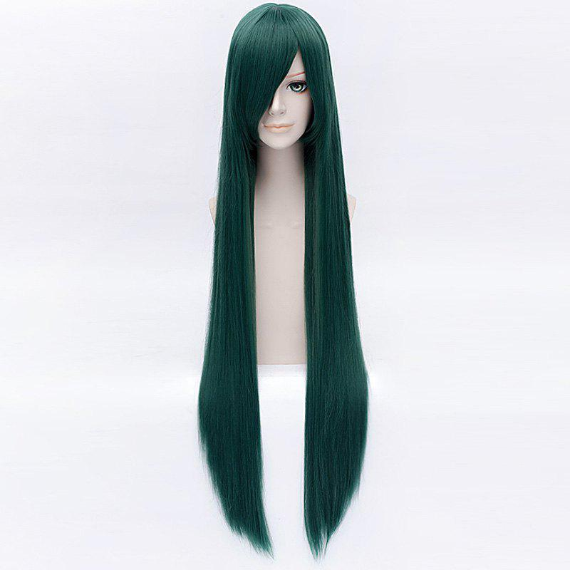 Fashion Blackish Green Extra Long Synthetic Layered Silky Straight Hanaki Yuka Cosplay Wig - BLACKISH GREEN