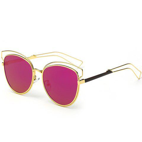 Chic Cat Eye Shape Golden Frame and Hollow Out Design Women's Sunglasses - ROSE