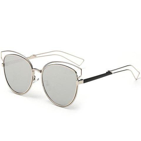 Chic Cat Eye Shape Silver Frame and Hollow Out Design Women's Sunglasses