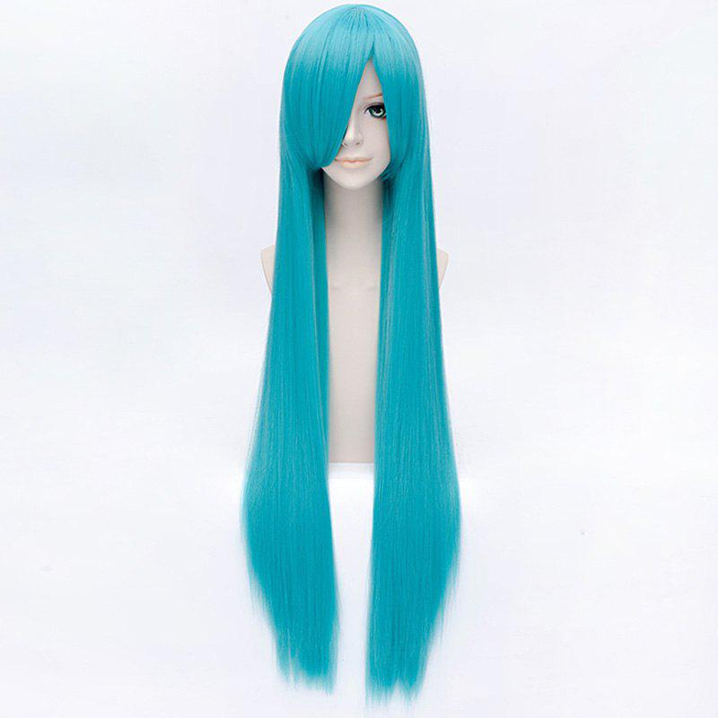 Hatsune Miku 100CM Extra Long Straight Synthetic Trendy Side Bang Lake Blue Cosplay Wig - LAKE BLUE