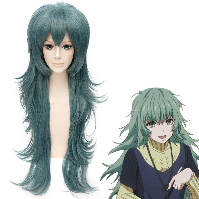 Vogue Long Layered Dark Green Fluffy Wavy Synthetic Anime Tokyo Ghoul Cosplay Wig - DEEP GREEN