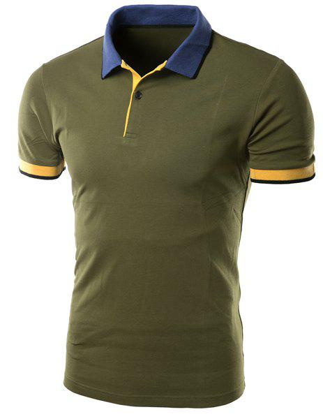 Simple Turn-down Collar Color Block Slimming Men's Short Sleeves Polo T-Shirt - ARMY GREEN L