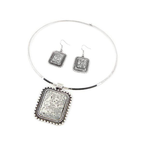 A Suit of Retro Rectangle Turquoise Necklace and Earrings For Women