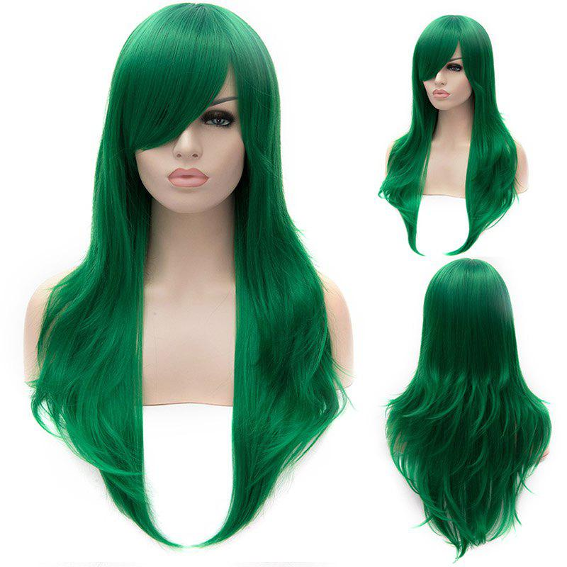 Shaggy Wavy Side Bang Stunning Green Long layered Synthetic Lolita Wig For Women - GREEN
