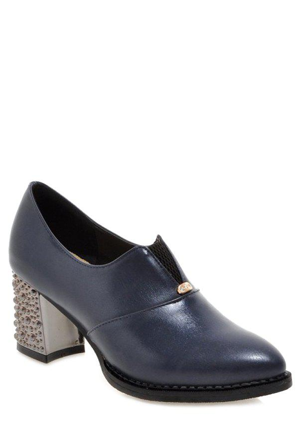 Casual Elastic and Chunky Heel Design Pumps For Women - BLUE 39