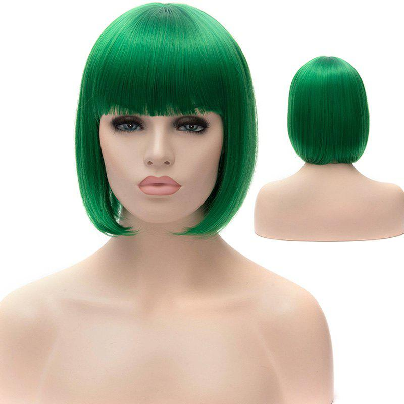Stylish Straight Full Bang Green Synthetic Short Bob Style Women's Party Wig - GREEN