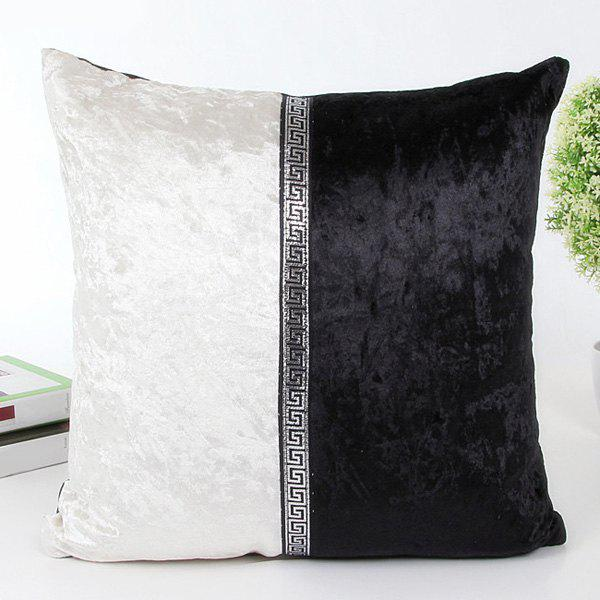 High Quality Square Shape White and Black Patchwork Pillow Case(Without Pillow Inner) - WHITE/BLACK